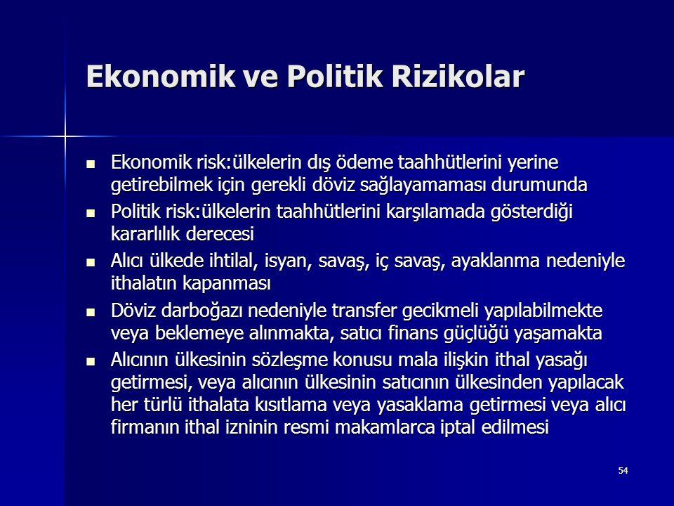 Ekonomik ve Politik Rizikolar