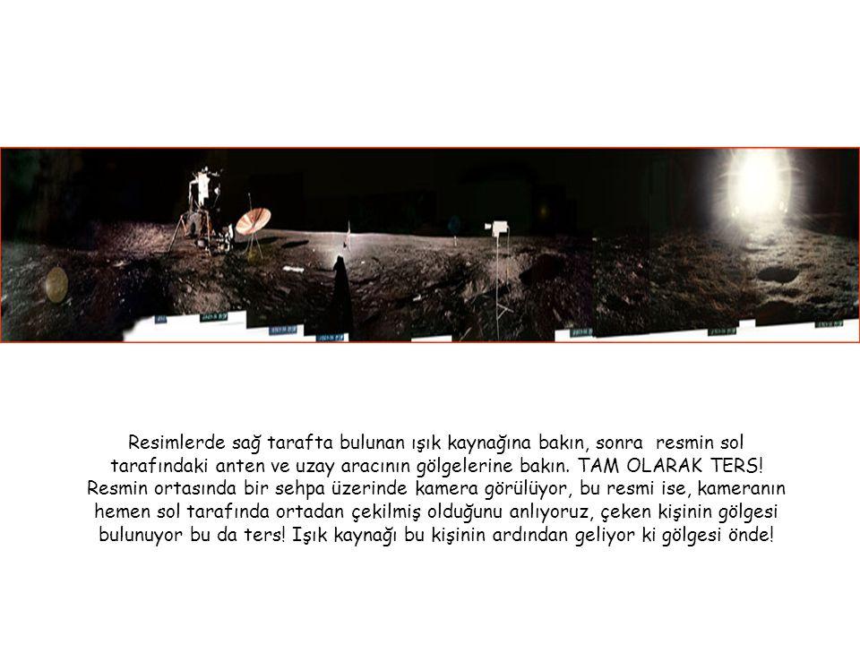 Resimlerde sağ tarafta bulunan ışık kaynağına bakın, sonra resmin sol tarafındaki anten ve uzay aracının gölgelerine bakın.