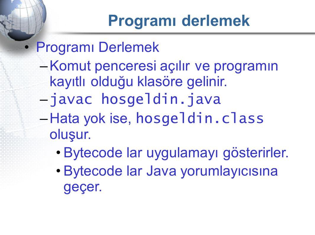 Programı derlemek Programı Derlemek