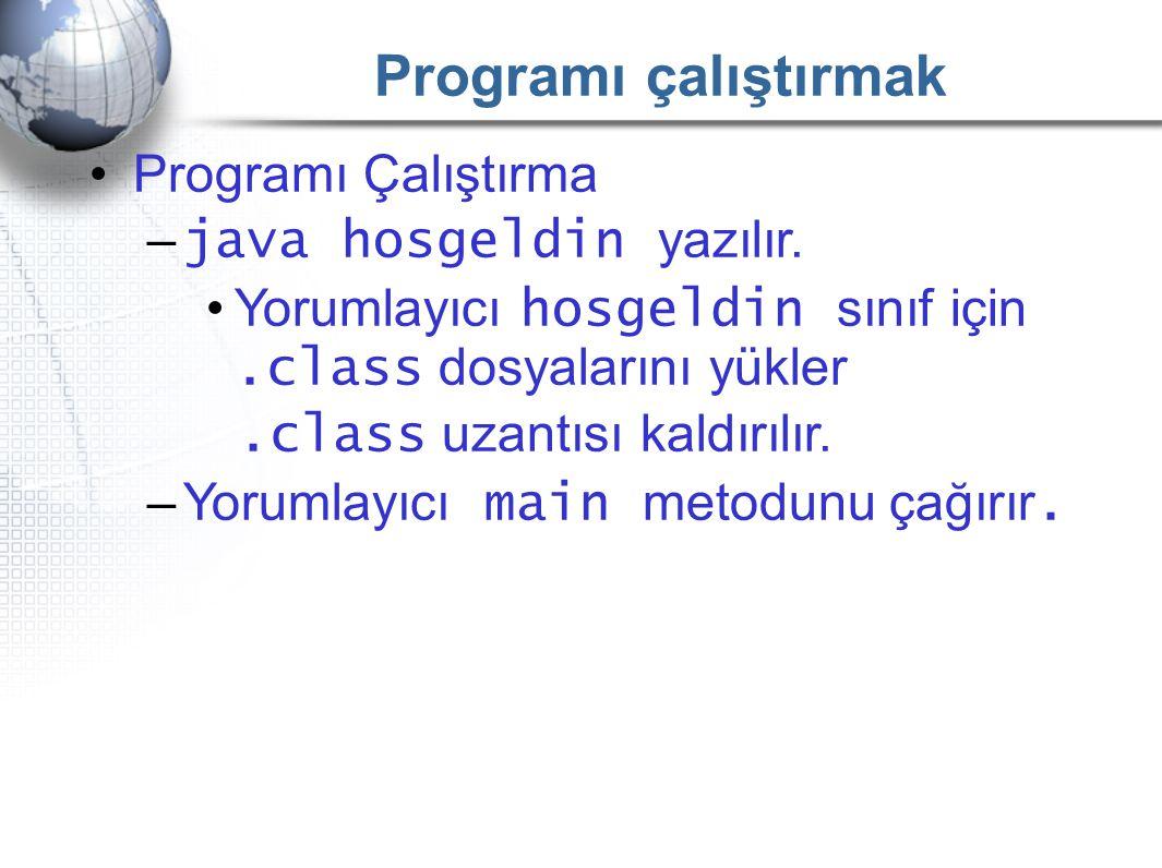 Programı çalıştırmak Programı Çalıştırma java hosgeldin yazılır.