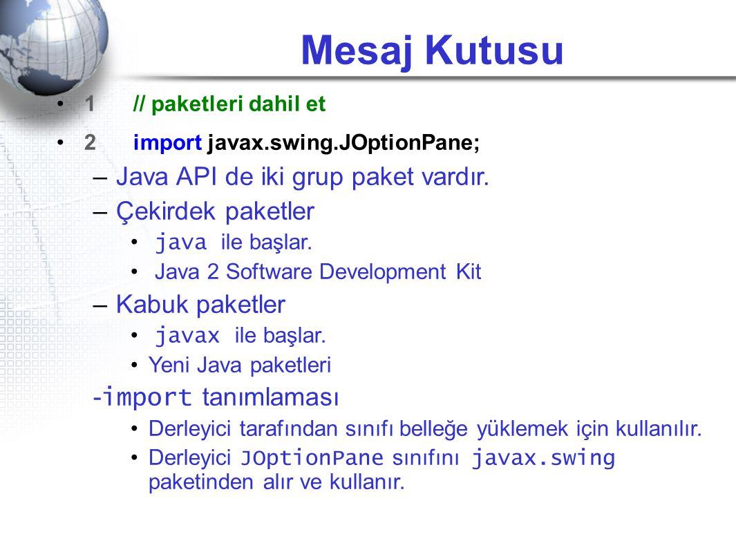 Mesaj Kutusu Java API de iki grup paket vardır. Çekirdek paketler