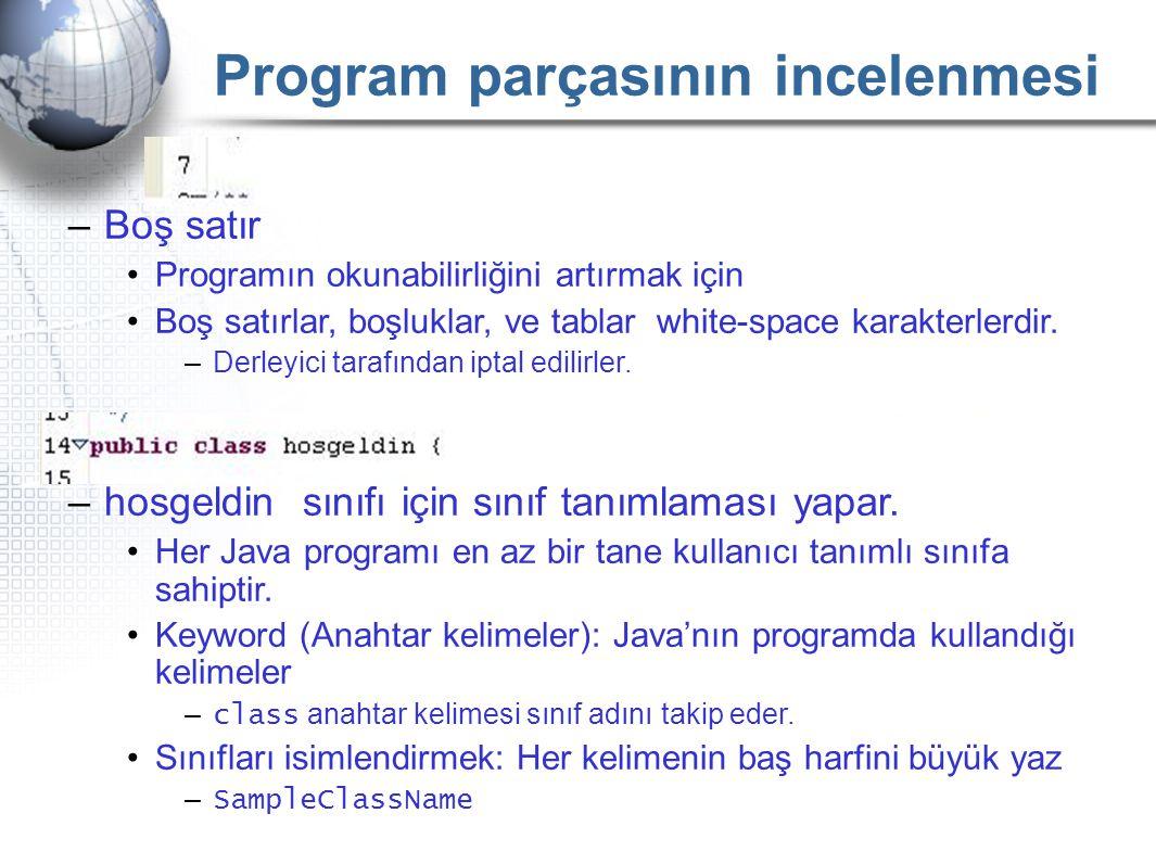 Program parçasının incelenmesi