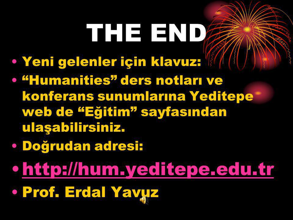 THE END http://hum.yeditepe.edu.tr Prof. Erdal Yavuz