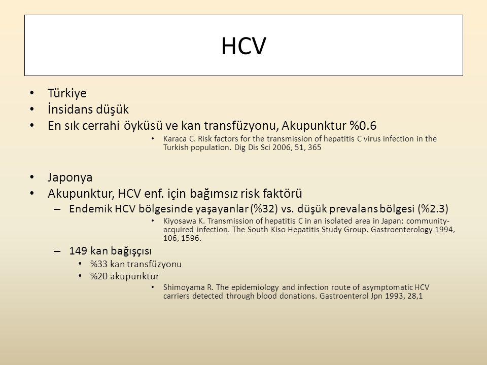 HCV Türkiye İnsidans düşük