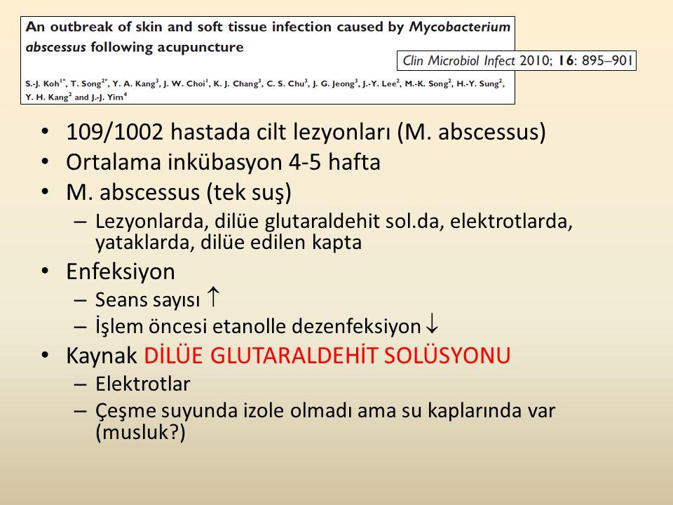 109/1002 hastada cilt lezyonları (M. abscessus)