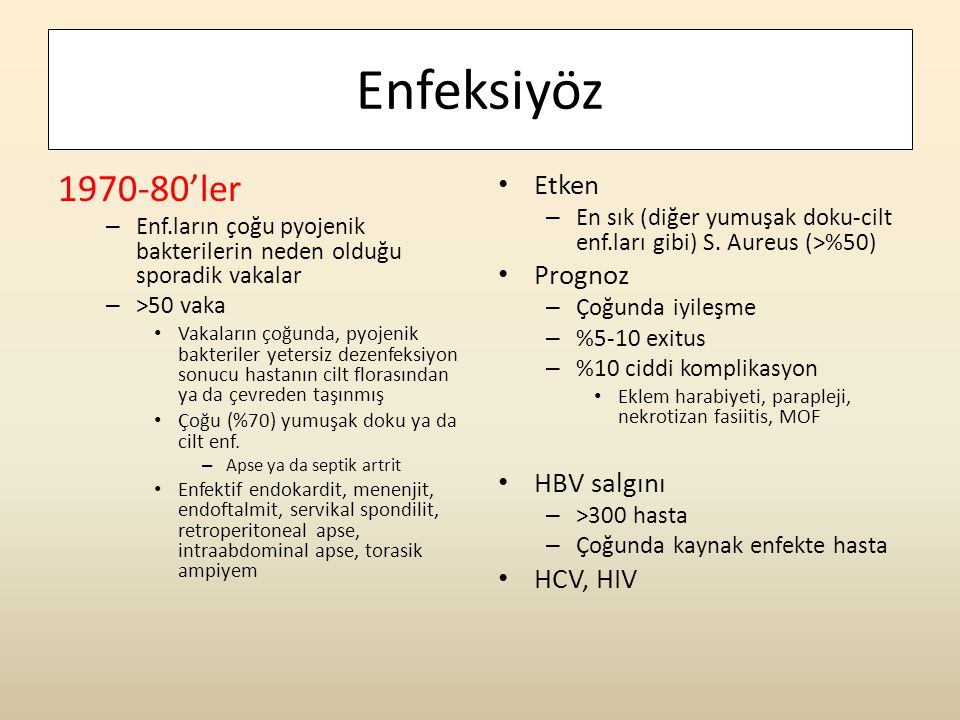 Enfeksiyöz 1970-80'ler Etken Prognoz HBV salgını HCV, HIV