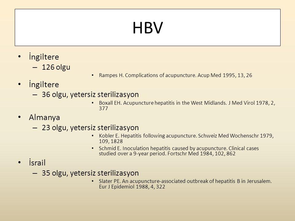 HBV İngiltere Almanya İsrail 126 olgu 36 olgu, yetersiz sterilizasyon