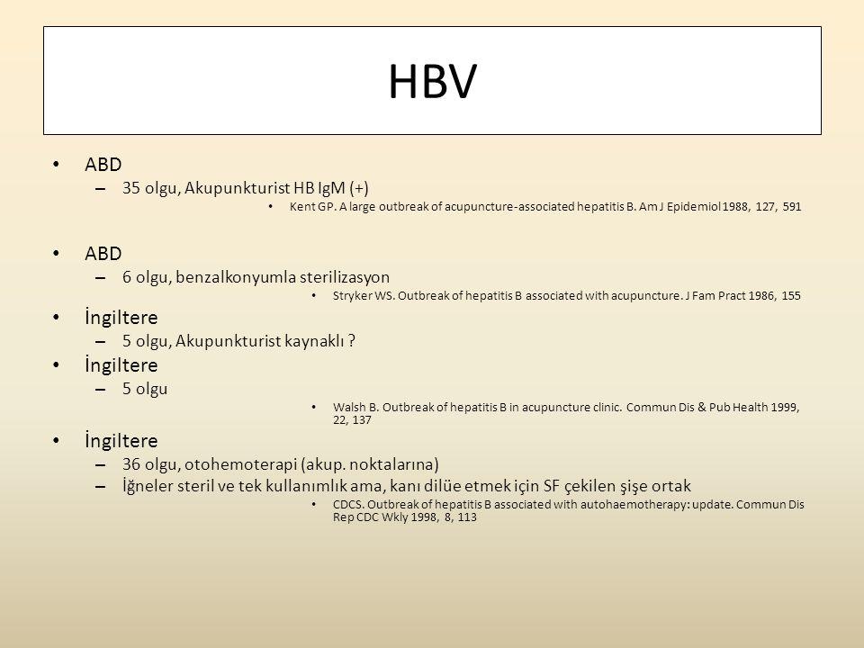 HBV ABD İngiltere 35 olgu, Akupunkturist HB IgM (+)