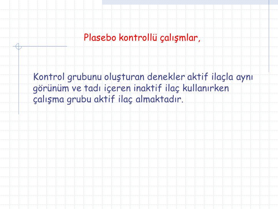Plasebo kontrollü çalışmlar,