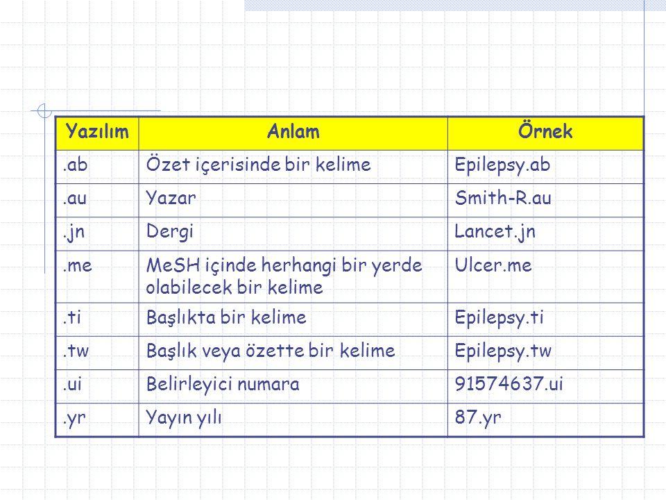 Yazılım Anlam. Örnek. .ab. Özet içerisinde bir kelime. Epilepsy.ab. .au. Yazar. Smith-R.au. .jn.