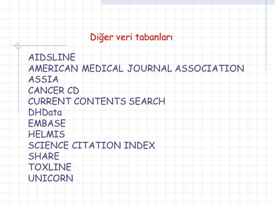 Diğer veri tabanları AIDSLINE. AMERICAN MEDICAL JOURNAL ASSOCIATION. ASSIA. CANCER CD. CURRENT CONTENTS SEARCH.
