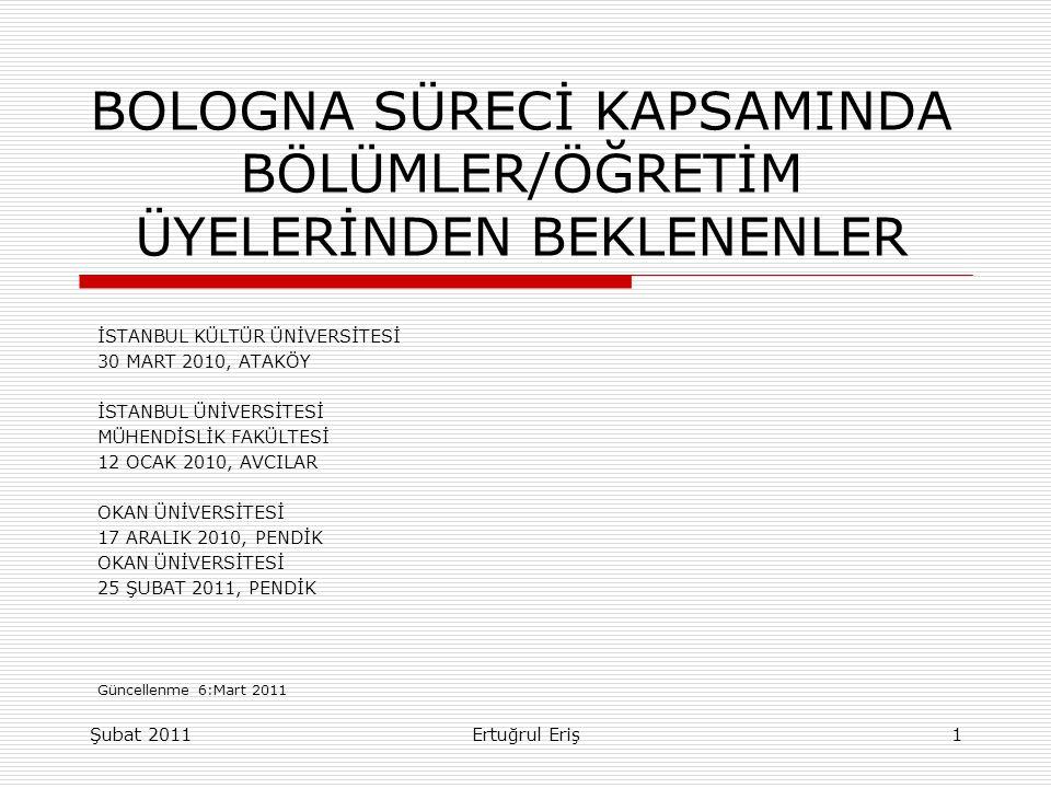 BOLOGNA SÜRECİ KAPSAMINDA BÖLÜMLER/ÖĞRETİM ÜYELERİNDEN BEKLENENLER