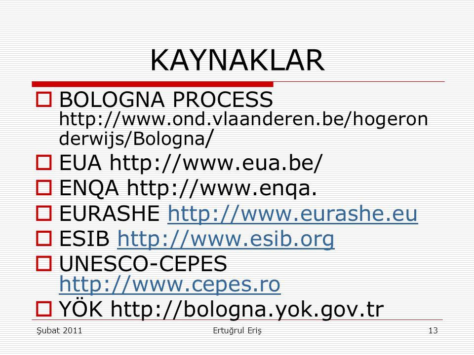 KAYNAKLAR BOLOGNA PROCESS http://www.ond.vlaanderen.be/hogeronderwijs/Bologna/ EUA http://www.eua.be/