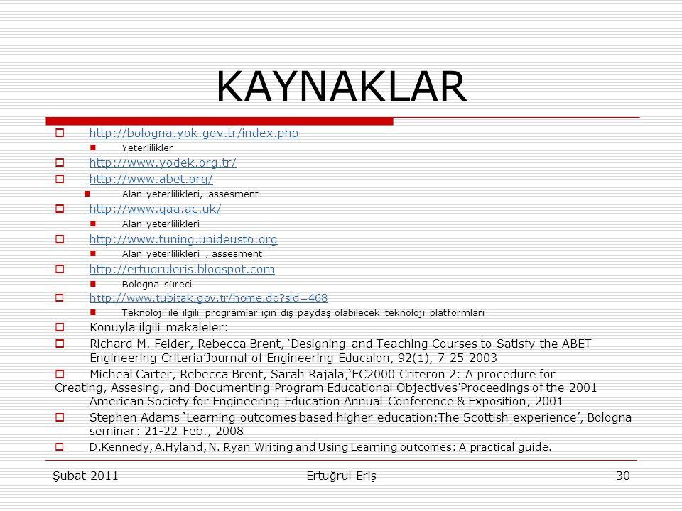 KAYNAKLAR http://bologna.yok.gov.tr/index.php http://www.yodek.org.tr/