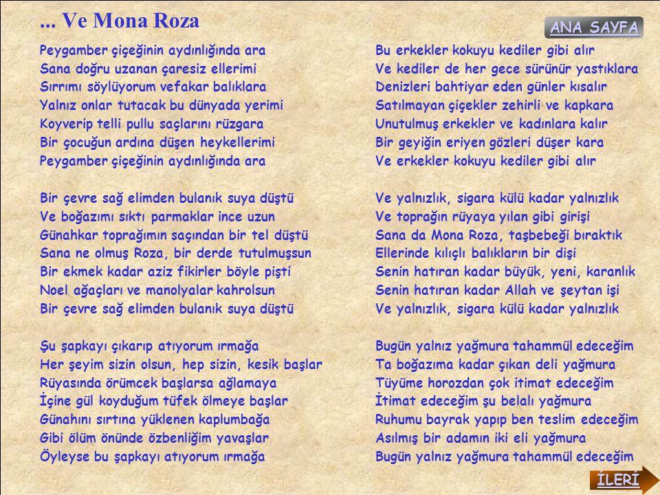 ... Ve Mona Roza ANA SAYFA İLERİ Peygamber çiçeğinin aydınlığında ara