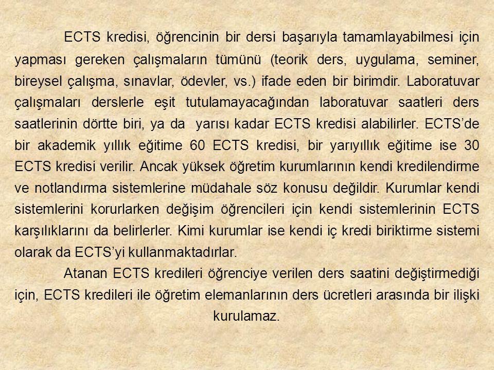 ECTS kredisi, öğrencinin bir dersi başarıyla tamamlayabilmesi için yapması gereken çalışmaların tümünü (teorik ders, uygulama, seminer, bireysel çalışma, sınavlar, ödevler, vs.) ifade eden bir birimdir. Laboratuvar çalışmaları derslerle eşit tutulamayacağından laboratuvar saatleri ders saatlerinin dörtte biri, ya da yarısı kadar ECTS kredisi alabilirler. ECTS'de bir akademik yıllık eğitime 60 ECTS kredisi, bir yarıyıllık eğitime ise 30 ECTS kredisi verilir. Ancak yüksek öğretim kurumlarının kendi kredilendirme ve notlandırma sistemlerine müdahale söz konusu değildir. Kurumlar kendi sistemlerini korurlarken değişim öğrencileri için kendi sistemlerinin ECTS karşılıklarını da belirlerler. Kimi kurumlar ise kendi iç kredi biriktirme sistemi olarak da ECTS'yi kullanmaktadırlar.