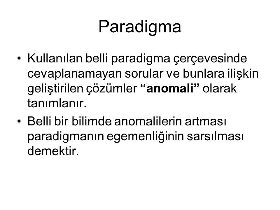 Paradigma Kullanılan belli paradigma çerçevesinde cevaplanamayan sorular ve bunlara ilişkin geliştirilen çözümler anomali olarak tanımlanır.