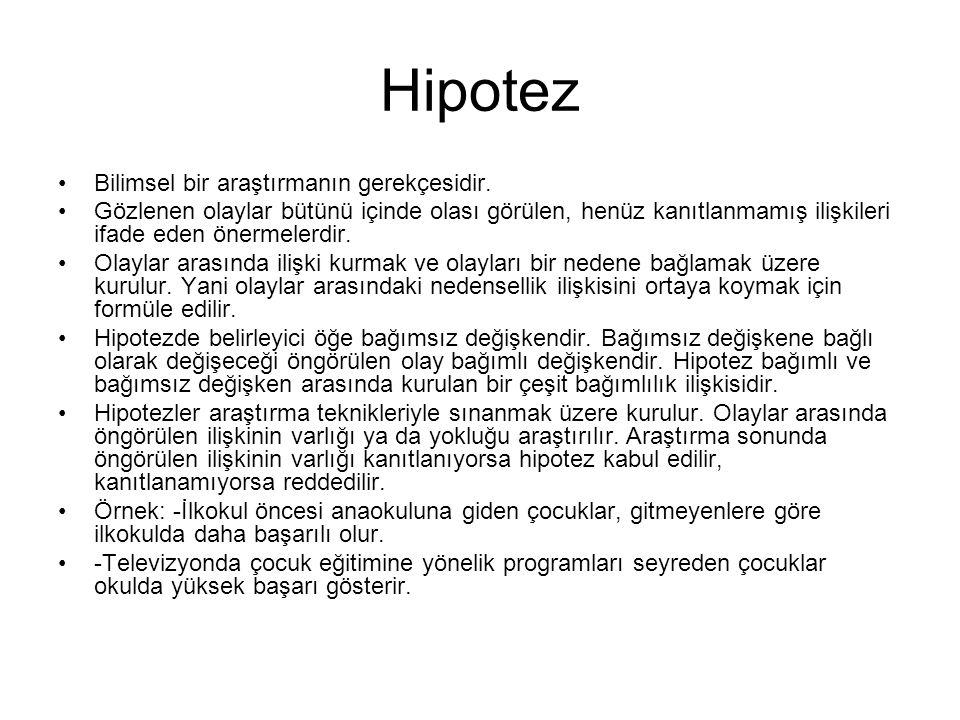 Hipotez Bilimsel bir araştırmanın gerekçesidir.