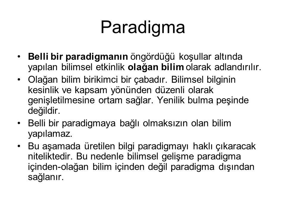 Paradigma Belli bir paradigmanın öngördüğü koşullar altında yapılan bilimsel etkinlik olağan bilim olarak adlandırılır.