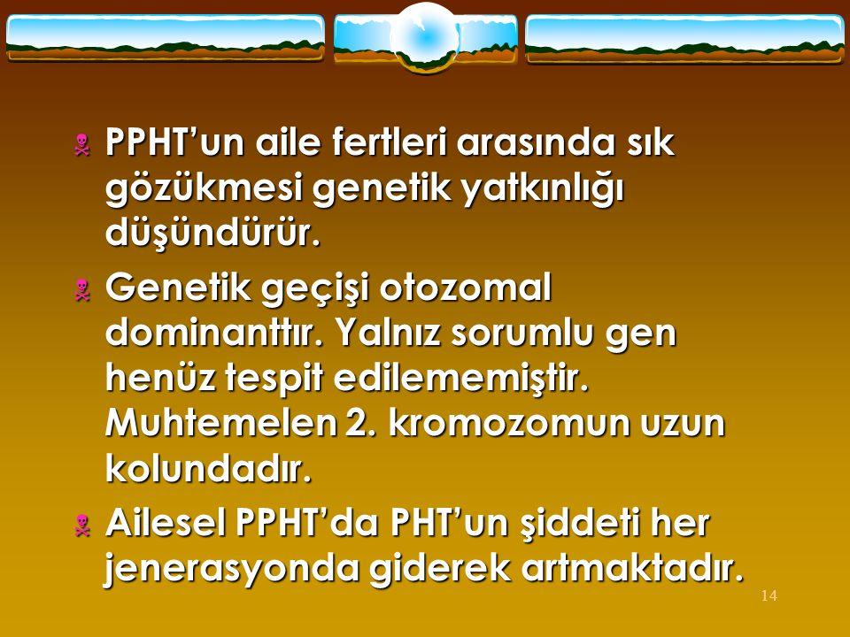 PPHT'un aile fertleri arasında sık gözükmesi genetik yatkınlığı düşündürür.