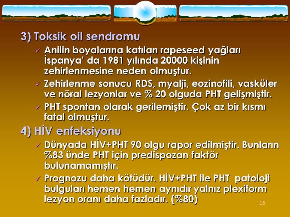3) Toksik oil sendromu 4) HİV enfeksiyonu