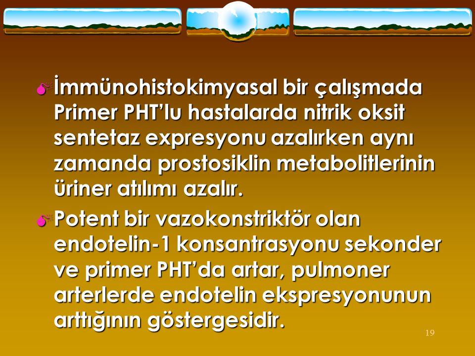İmmünohistokimyasal bir çalışmada Primer PHT'lu hastalarda nitrik oksit sentetaz expresyonu azalırken aynı zamanda prostosiklin metabolitlerinin üriner atılımı azalır.