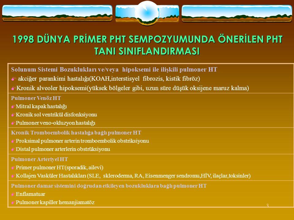 1998 DÜNYA PRİMER PHT SEMPOZYUMUNDA ÖNERİLEN PHT TANI SINIFLANDIRMASI