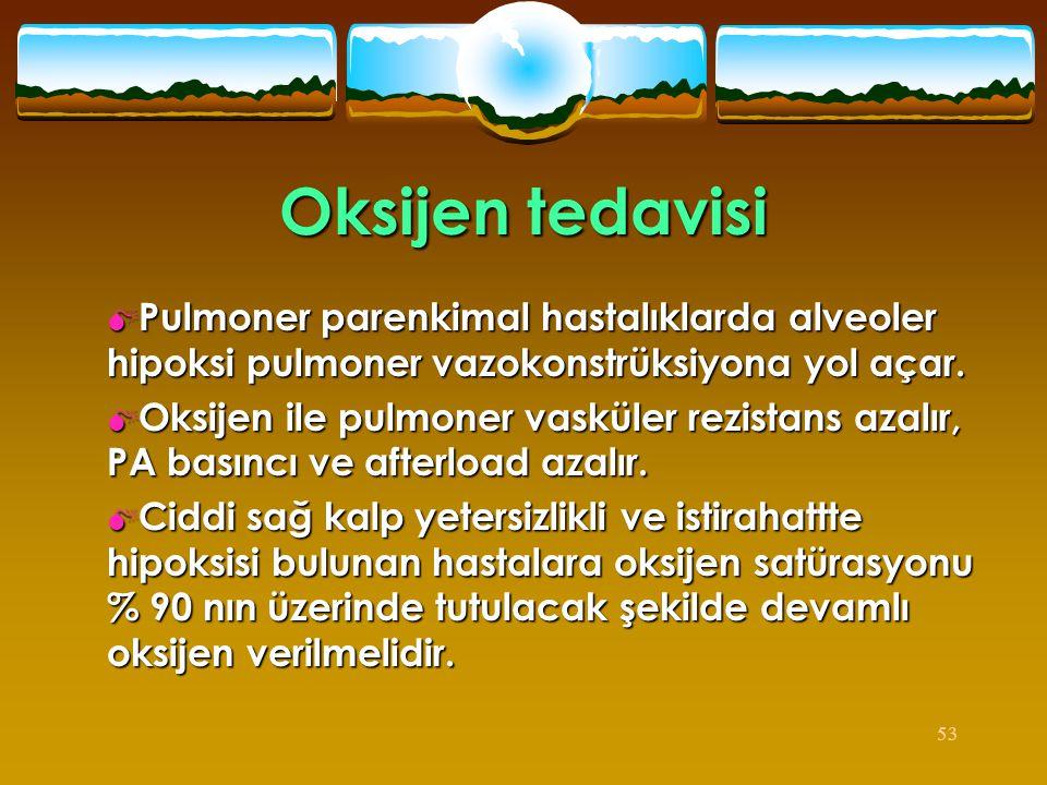 Oksijen tedavisi Pulmoner parenkimal hastalıklarda alveoler hipoksi pulmoner vazokonstrüksiyona yol açar.