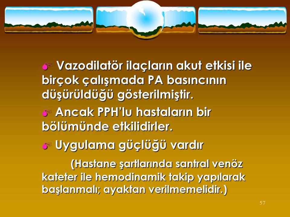 Vazodilatör ilaçların akut etkisi ile birçok çalışmada PA basıncının düşürüldüğü gösterilmiştir.