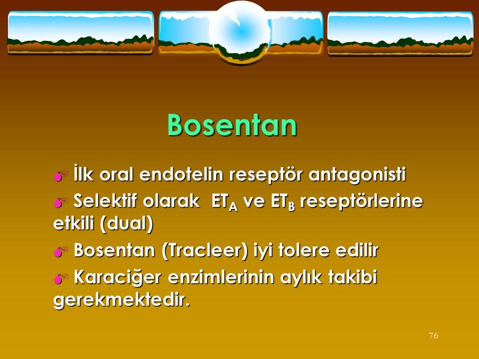 Bosentan İlk oral endotelin reseptör antagonisti