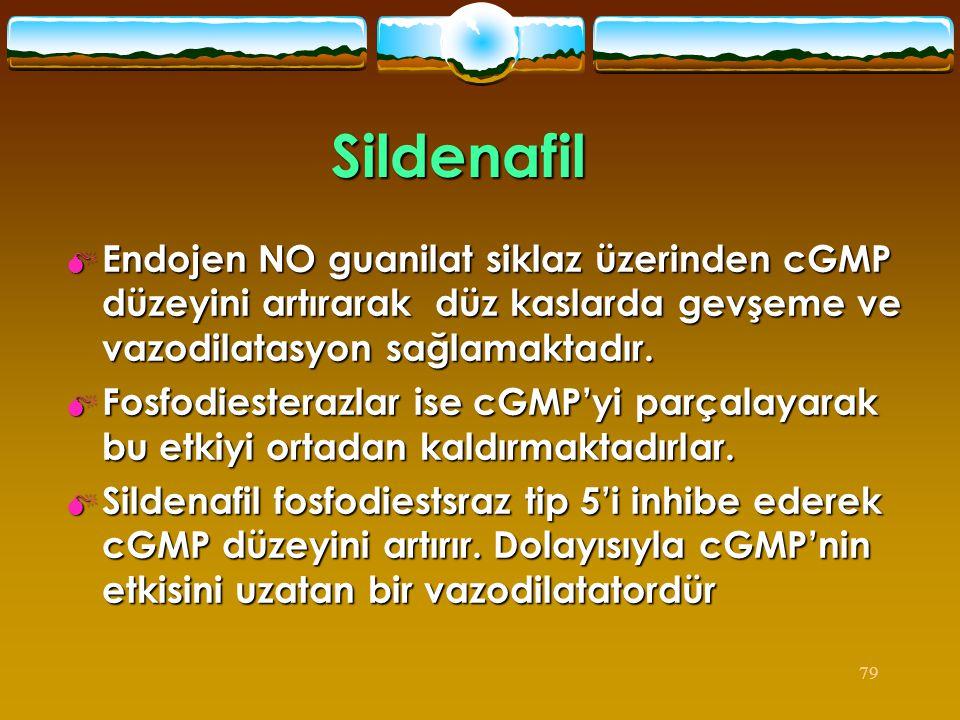Sildenafil Endojen NO guanilat siklaz üzerinden cGMP düzeyini artırarak düz kaslarda gevşeme ve vazodilatasyon sağlamaktadır.