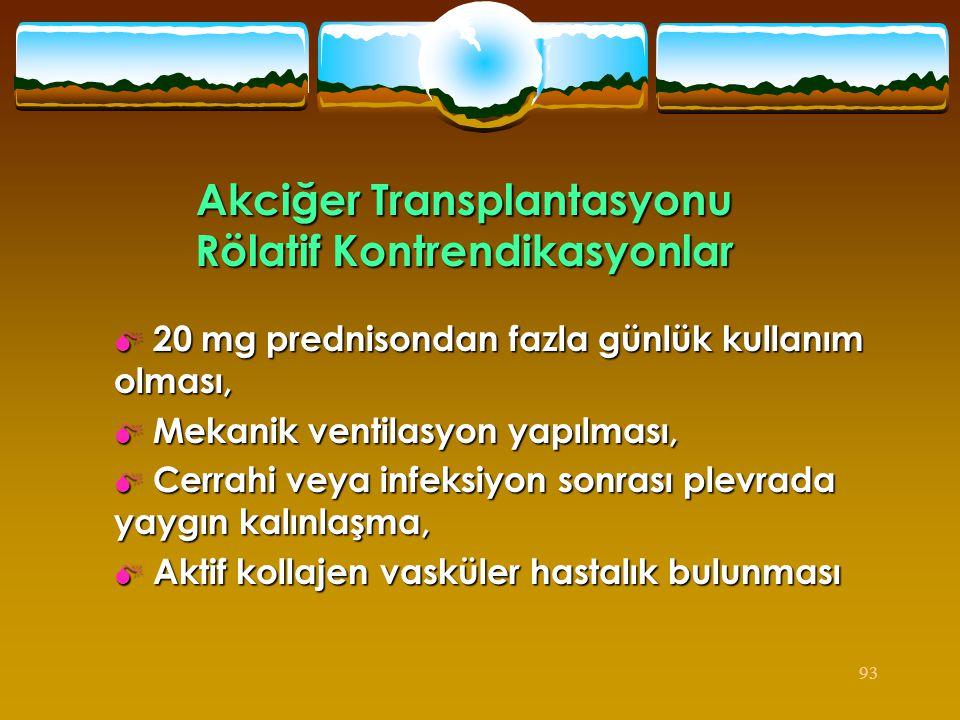 Akciğer Transplantasyonu Rölatif Kontrendikasyonlar