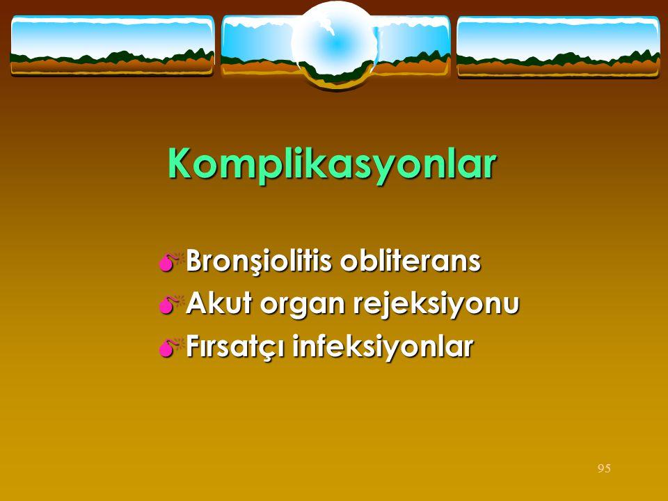 Komplikasyonlar Bronşiolitis obliterans Akut organ rejeksiyonu
