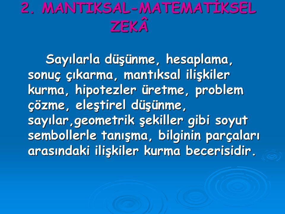 2. MANTIKSAL-MATEMATİKSEL ZEKÂ
