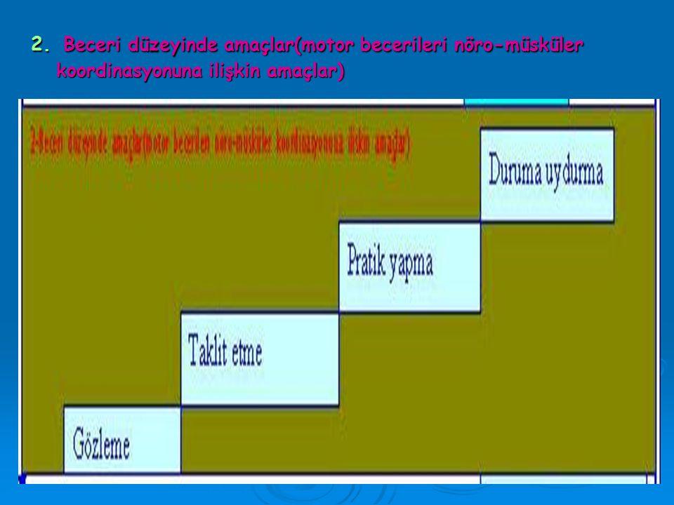 2. Beceri düzeyinde amaçlar(motor becerileri nöro-müsküler koordinasyonuna ilişkin amaçlar)