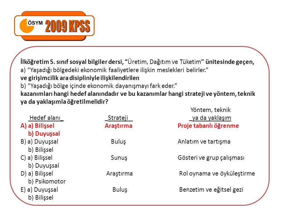 2009 KPSS İlköğretim 5. sınıf sosyal bilgiler dersi, Üretim, Dağıtım ve Tüketim ünitesinde geçen,
