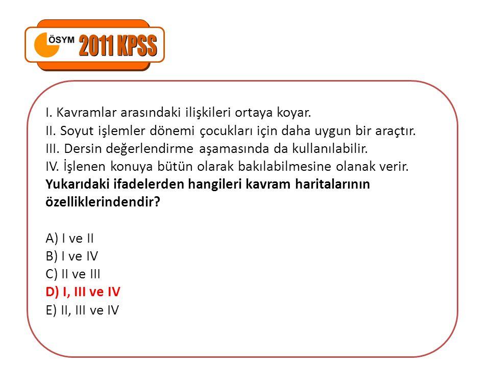 2011 KPSS I. Kavramlar arasındaki ilişkileri ortaya koyar.