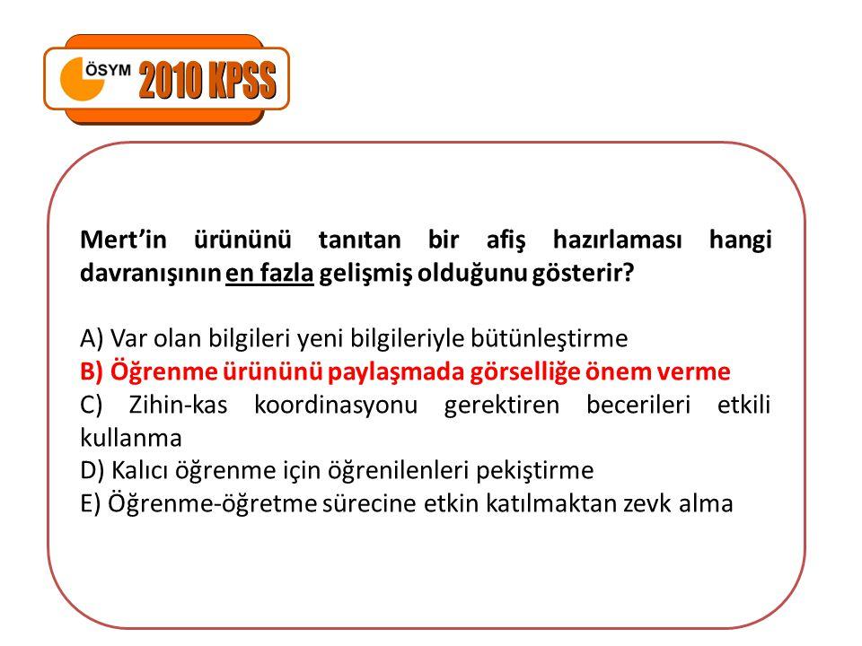 2010 KPSS Mert'in ürününü tanıtan bir afiş hazırlaması hangi davranışının en fazla gelişmiş olduğunu gösterir