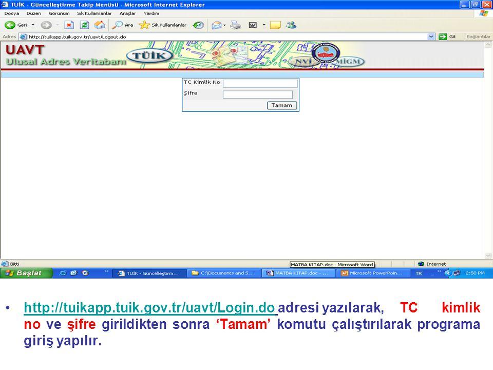 http://tuikapp. tuik. gov. tr/uavt/Login. do adresi yazılarak,
