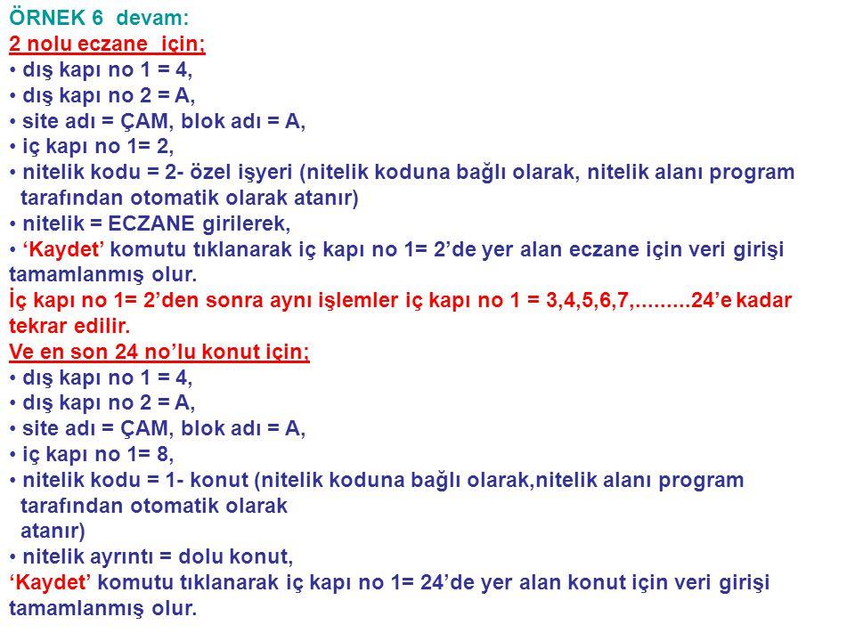 ÖRNEK 6 devam: 2 nolu eczane için; dış kapı no 1 = 4, dış kapı no 2 = A, site adı = ÇAM, blok adı = A,