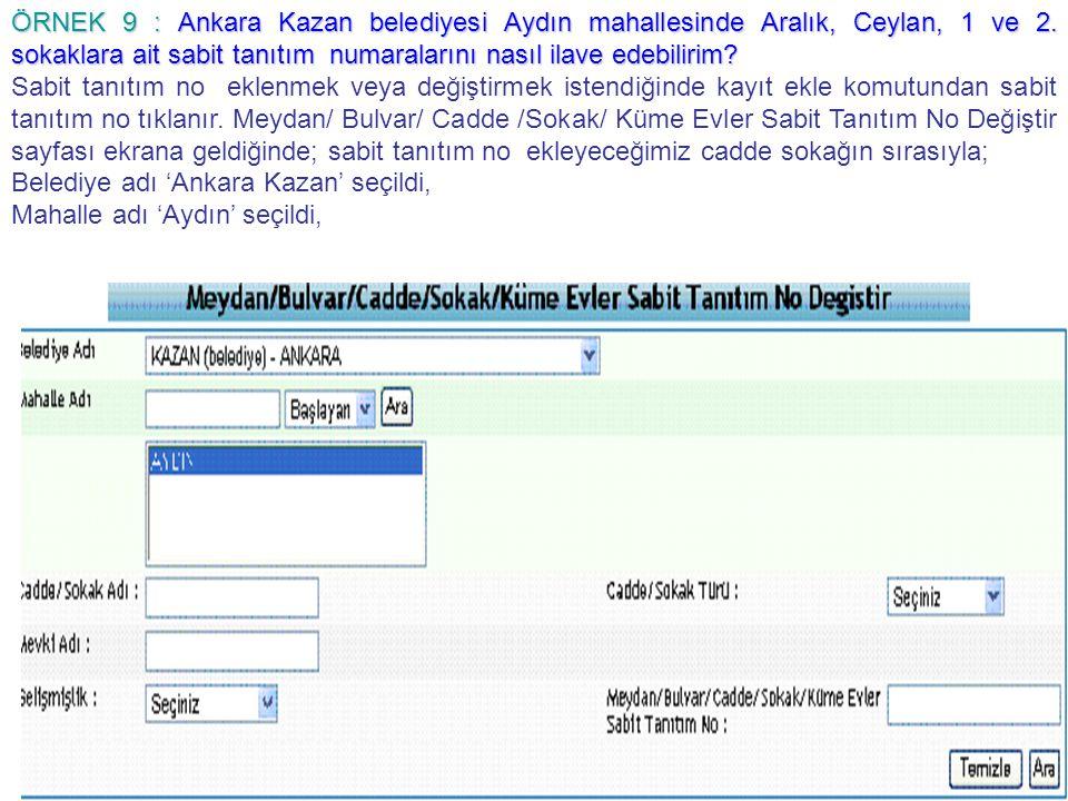 ÖRNEK 9 : Ankara Kazan belediyesi Aydın mahallesinde Aralık, Ceylan, 1 ve 2. sokaklara ait sabit tanıtım numaralarını nasıl ilave edebilirim