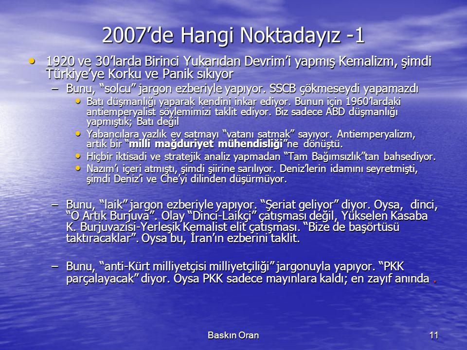 2007'de Hangi Noktadayız -1 1920 ve 30'larda Birinci Yukarıdan Devrim'i yapmış Kemalizm, şimdi Türkiye'ye Korku ve Panik sıkıyor.