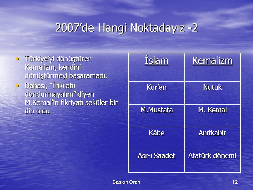 2007'de Hangi Noktadayız -2 İslam Kemalizm
