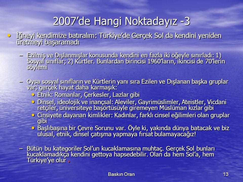 2007'de Hangi Noktadayız -3 İğneyi kendimize batıralım: Türkiye'de Gerçek Sol da kendini yeniden üretmeyi başaramadı.