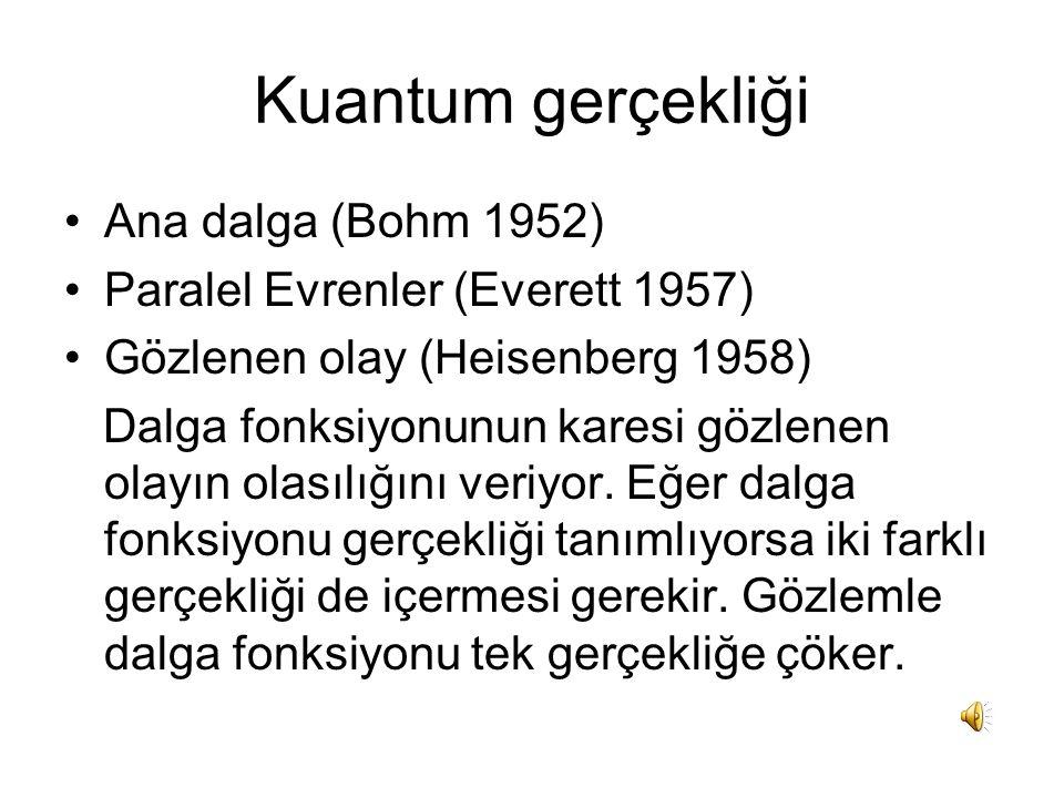 Kuantum gerçekliği Ana dalga (Bohm 1952)