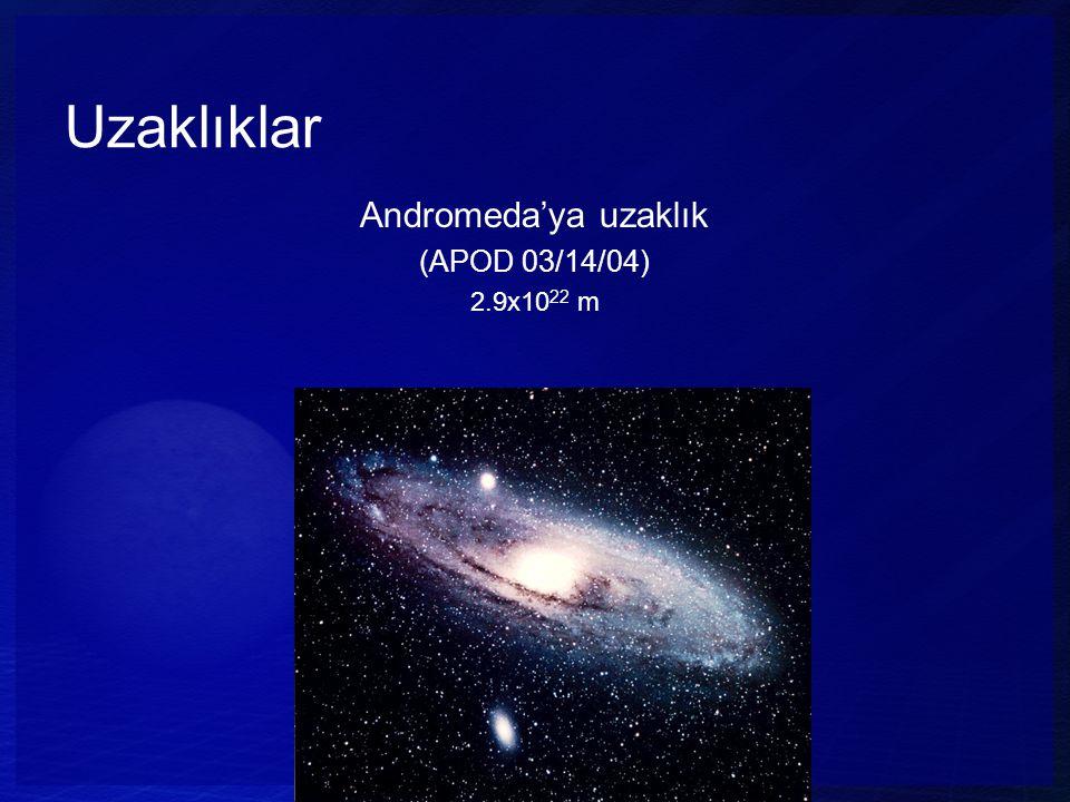 Uzaklıklar Andromeda'ya uzaklık (APOD 03/14/04) 2.9x1022 m