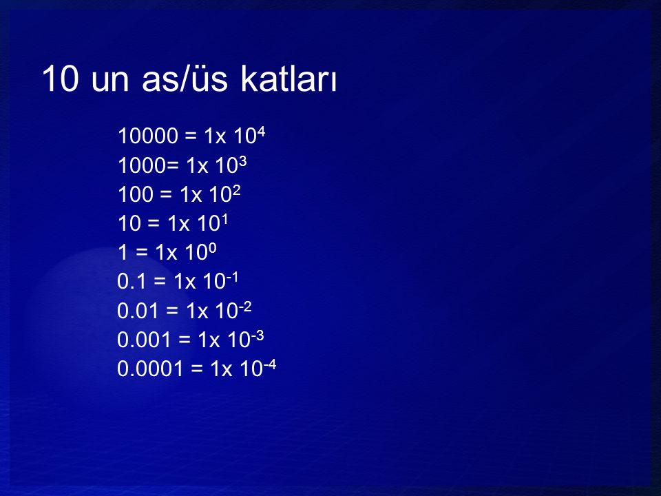 10 un as/üs katları 10000 = 1x 104 1000= 1x 103 100 = 1x 102