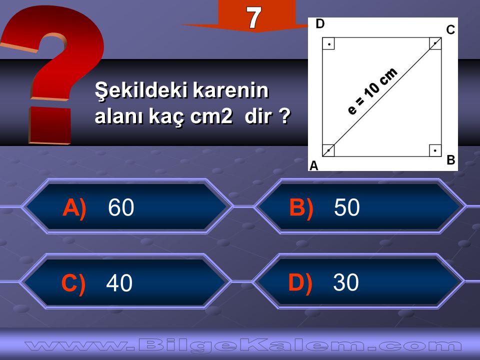 7 Şekildeki karenin. alanı kaç cm2 dir A) 60. B) 50.