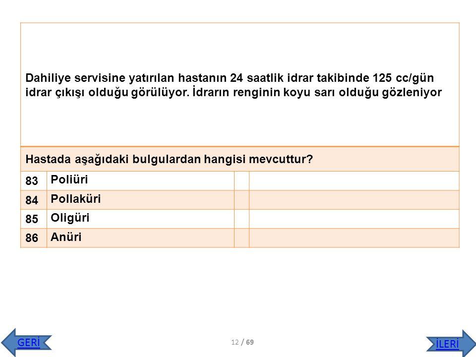 Hastada aşağıdaki bulgulardan hangisi mevcuttur 83 Poliüri 84