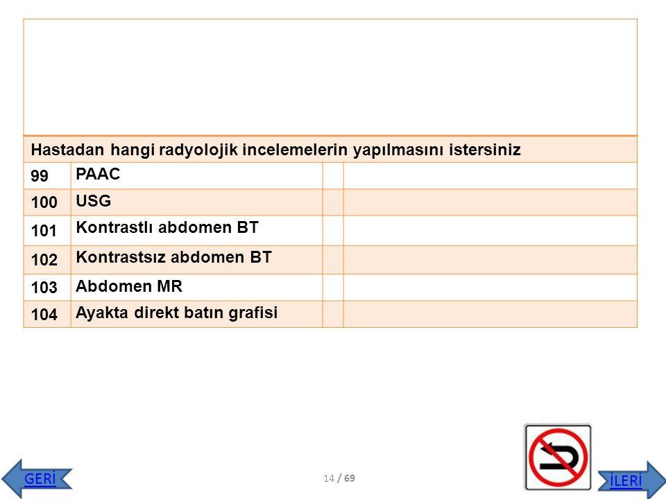 Hastadan hangi radyolojik incelemelerin yapılmasını istersiniz 99 PAAC